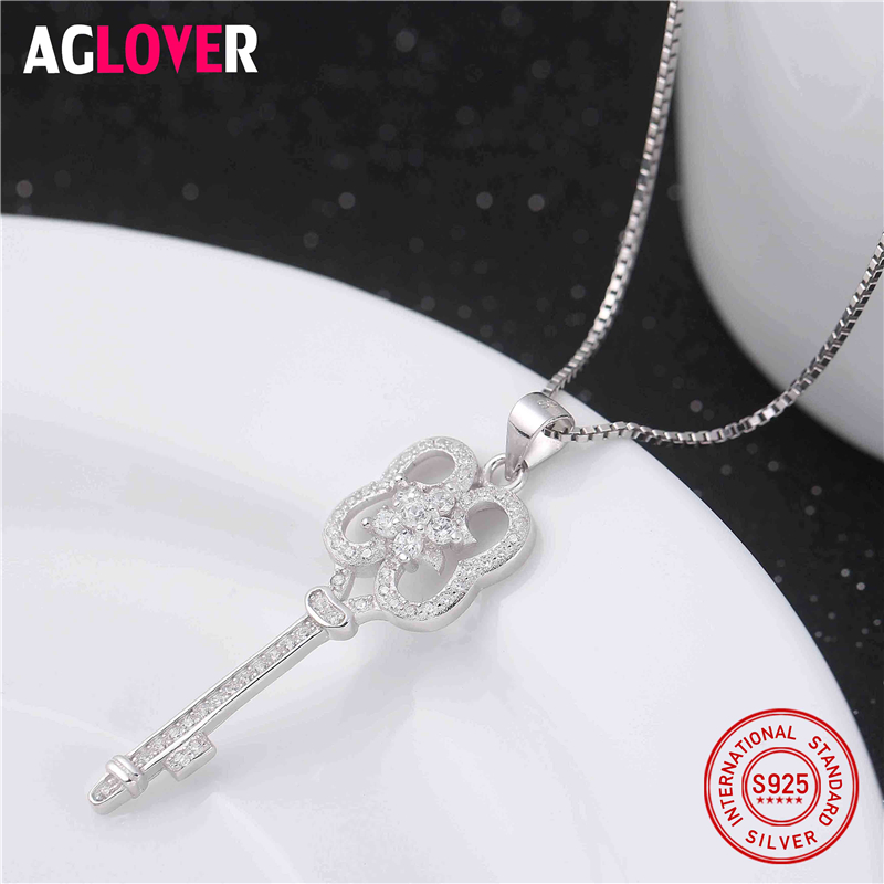 Authentic 925 Sterling Silver Key Necklaces for Women Classic Original Design White Fine Jewelry Key Pendants Wedding Gift in Necklaces from Jewelry Accessories