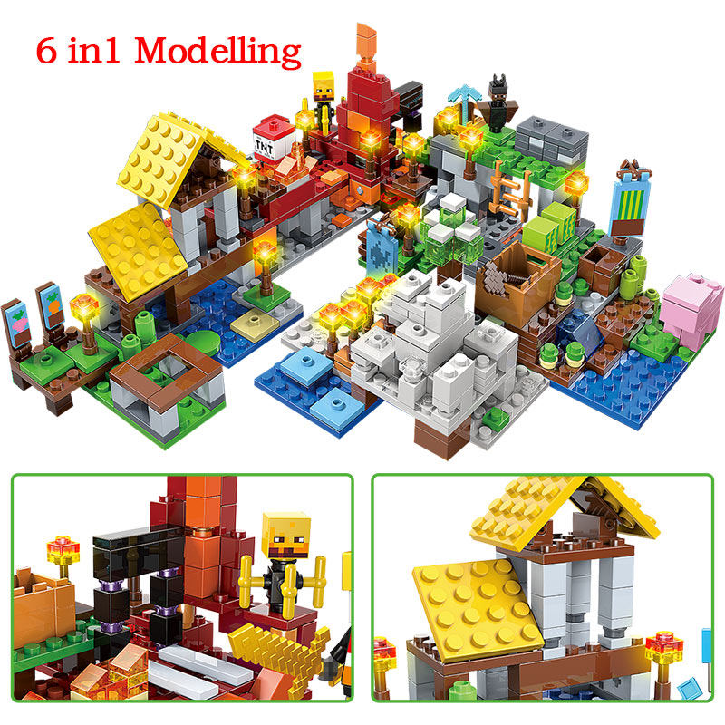737pcs MY WORLD Compatible Legoinglys Minecrafted Figures Arms Building Blocks Defend Home Zombie Figures DIY Toys For Children 4