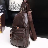 Natural Skin Men Shoulder Sling Backpack Rucksack Single Knapsack Daypack Male Travel Studded Genuine leather Cowhide Chest Bag