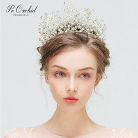 PEORCHID Princess Tiara Headband Bride Weding Hair Jewelry Sweet 16 Party Decorations Pearl Bridal Accessories Rhinestone Crown
