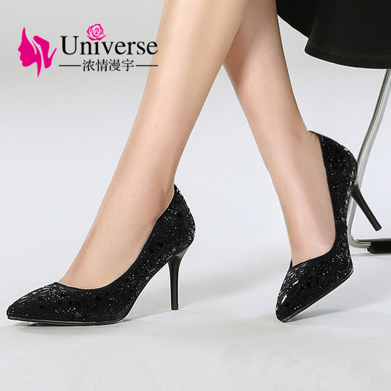 Universe Size 34-42 Elegant Crystal High Heel Pumps Shoes Women Thin Heels Bling Party Pumps Dress Shoes Kitten Heels H001