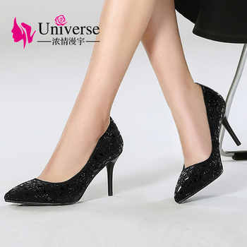 Universe Size 34-42 Elegant Crystal High Heel Pumps Shoes Women Thin Heels Bling Party Pumps Dress Shoes Kitten Heels H001 - DISCOUNT ITEM  51% OFF All Category