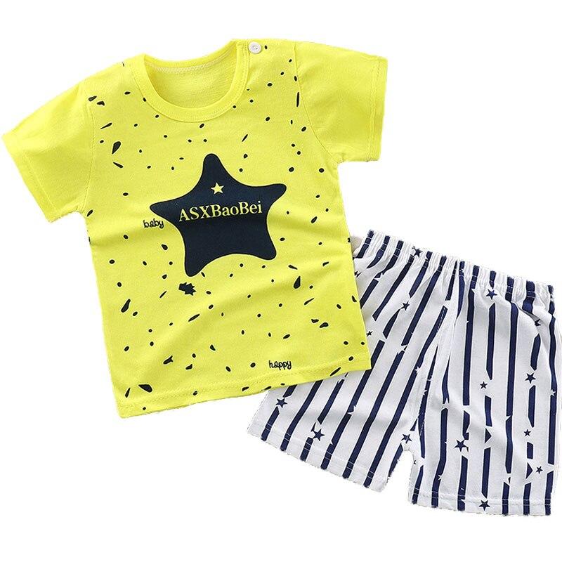 2 шт. костюм для маленьких мальчиков девочек одежда в полоску детская Летняя одежда для малышей набор мультфильм 2018 новая детская мода хлопо...