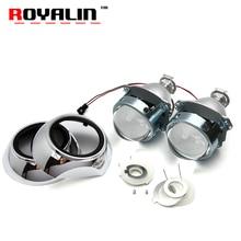Royalin 3.0 автомобилей Стайлинг объектив проектора из металла H1 проектор ксеноновые линзы w/iris кожухи для VW Tiguan Seat Leon авто лампы H1 H4 H7