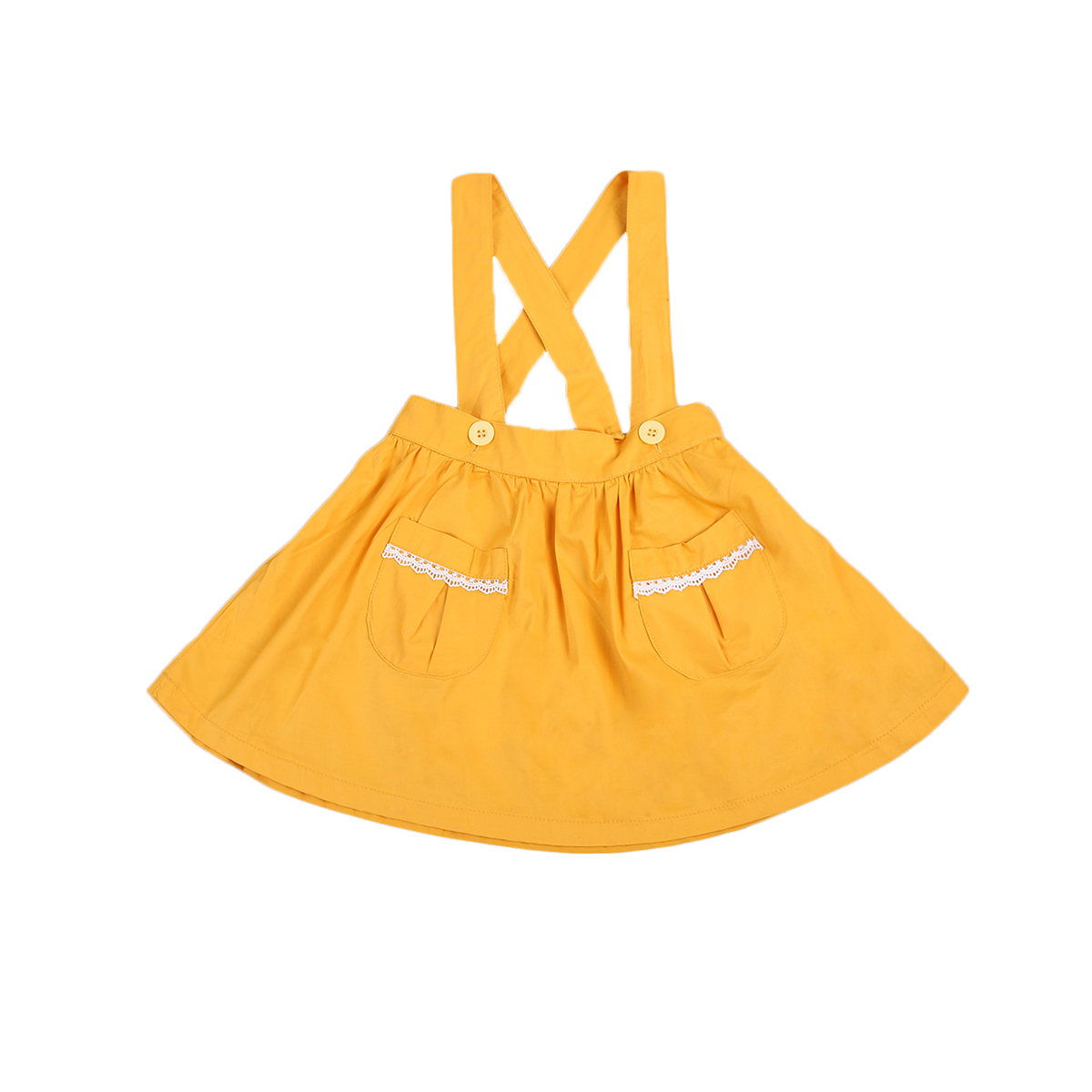 New Hot Sale AdorableToddler Baby Girls Yellow Belted Kids Summer Party Cotton Skirts 1-5 Years