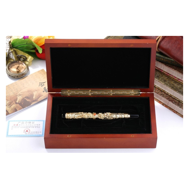 Jinhao Chinese Ancient Two Dragon Playing Pearl M Nib Fountain Pen with Original Box Free Shipping fountain pen m nib hero 1508 dragon clip signature pens the best gifts free shipping