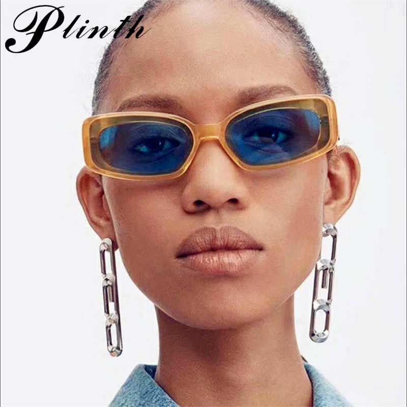 Plinth brand Cool Rectangle Sunglasses Women 2019 Fashion Small Yellow Blue Sunglasses Model Catwalk Glasses Fashion Goggles