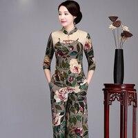 Women Print Flower Chinese Vintage Linen Blouse Casual Three Quarter Sleeve Shirt 2018 New Mandarin Collar Clothing M 4XL