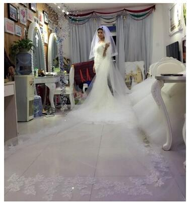 Real Picture 5 meters length Custom Made White Ivory Wedding Veil With Lace Bridal Wedding Accessories Hot Sell MD03562