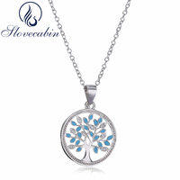 Slovecabin Real 100 925 Sterling Silver Family Tree Chain Long Necklace Pendants For Women Sterling Silver