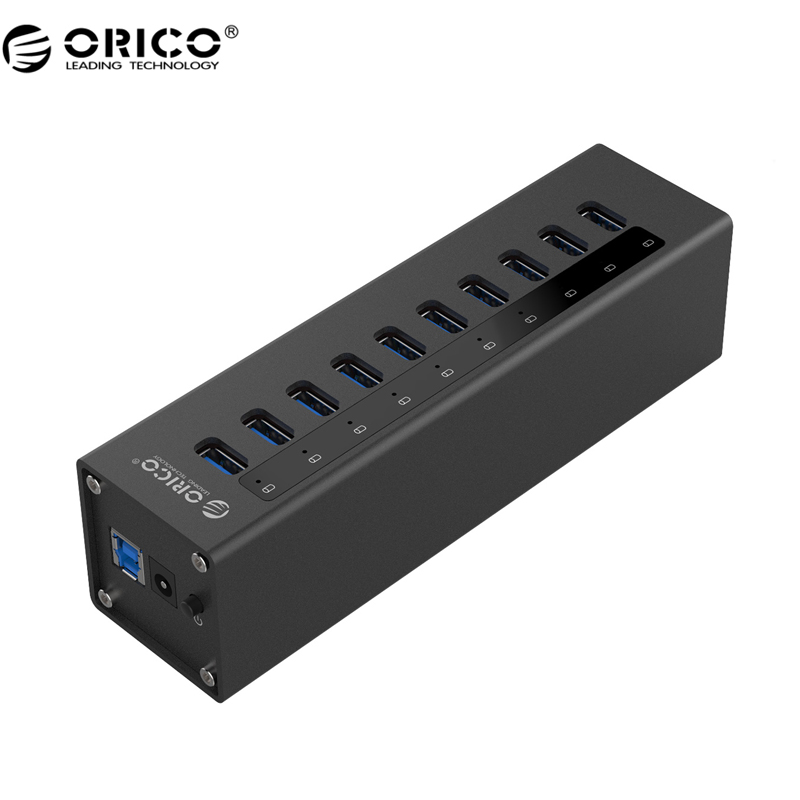 ORICO A3H10 концентратор USB 3,0 Новый дизайн с Мощность адаптер Алюминий 10 Порты и разъёмы USB 3,0 концентратор-черный