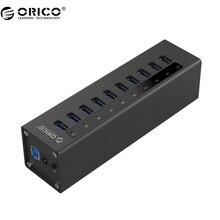ORICO A3H10 USB 3.0 HUB Neue design Mit Netzteil Aluminium 10 Port USB 3.0 HUB-Schwarz