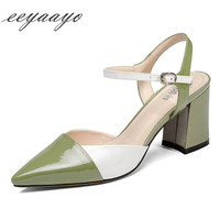 2019 New Summer Genuine Leather Women Sandals High Heel Pointed Toe Mixed Color Sexy Lady Women Cow Leather Shoes Green Sandals