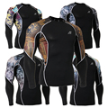 Mens Camisas De Compressão Da Pele Collants t Tshirts de Manga Longa Top Roupas de Fitness Musculação MMA C2L