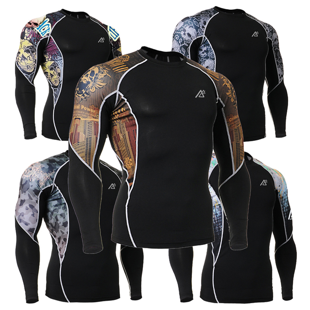 Mens Skin Tights t Shirts Compression Tshirts Long Sleeve Top MMA Bodybuilding Fitness Clothing C2L