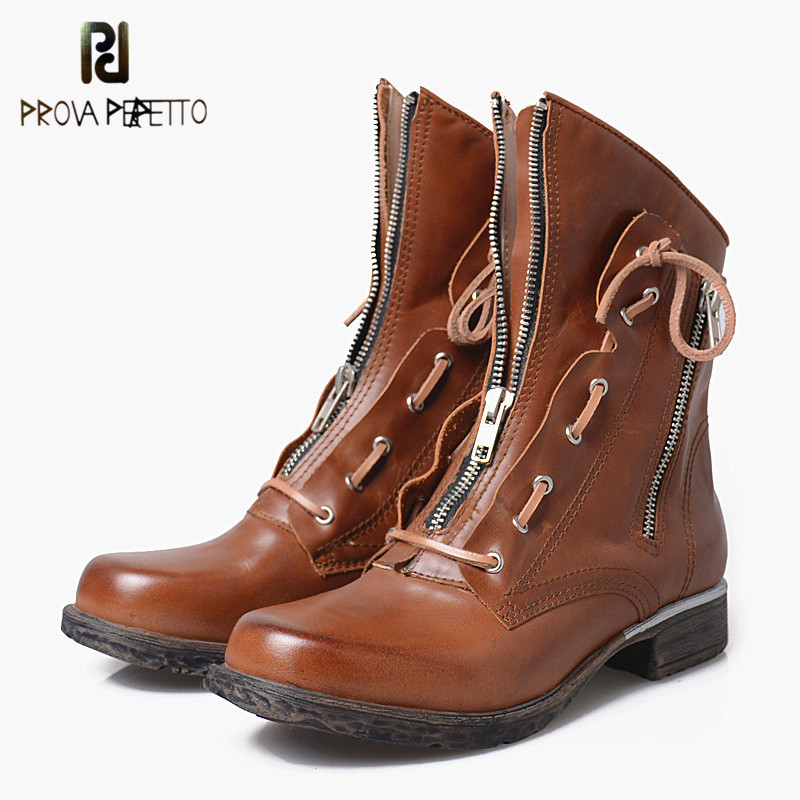 Prova Perfetto Women Boots 2017 British Style Classic Motorcycle Martin Boots Solid Punk Winter Waterproof Chelsea Shoes Brown