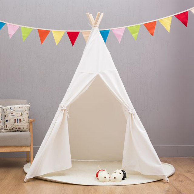 US $30 36 |Four Poles Indian Play Tent Cartoon Children Teepees Kids Tipi  Tent Cotton Canvas Teepee White Play House for Baby Room-in Baby Playpens