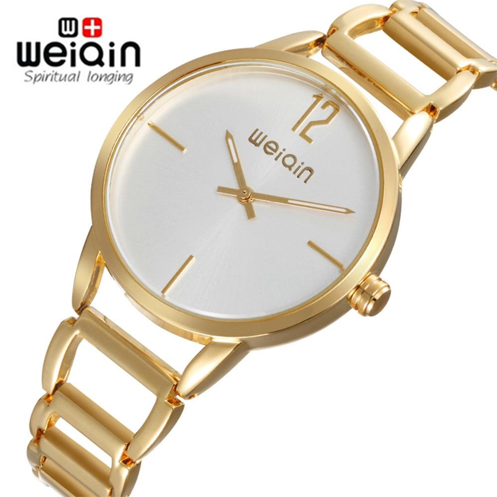 WEIQIN Luxury Fashion Women's Watches Quartz Watch Ladies Hollow Bracelet Wristwatches Stainless Steel Women Watches Gift 2017 cute love heart hollow out bracelet watch for women