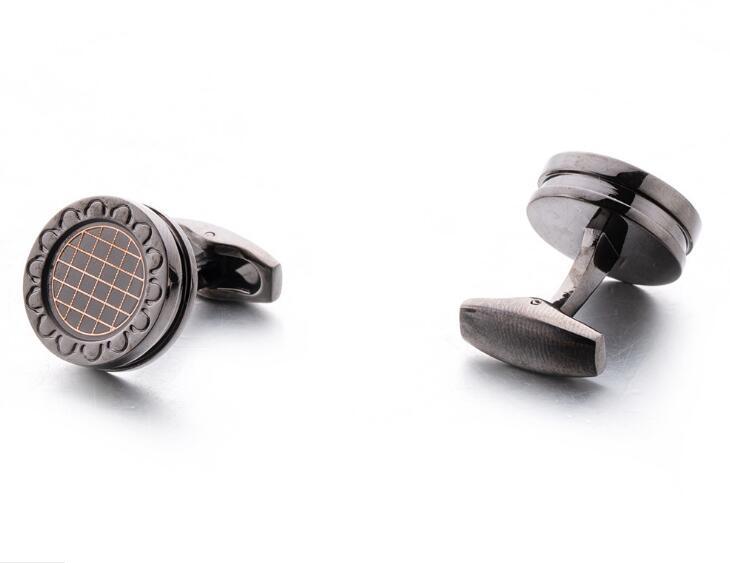 10 paires/lot Gunblack boutons de manchette ronds avec motif de grille Vintage Style d'affaires boutons de manchette chemise bouton de manchette hommes bijoux cadeau-in Pinces à cravate et boutons de manchette from Bijoux et Accessoires    3