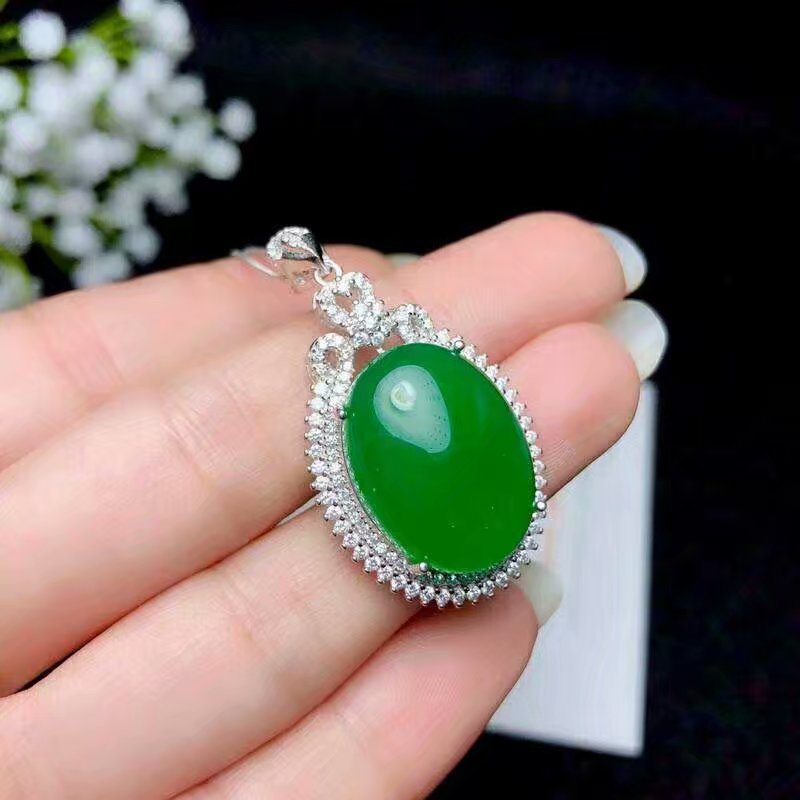 SHILOVEM 925 silver natural green chalcedony pendants send necklace classic plant wholesale Fine women gift new bz152009agys in Pendants from Jewelry Accessories