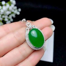 SHILOVEM 925 silver natural green chalcedony pendants send necklace classic plant wholesale Fine women gift new  bz152009agys