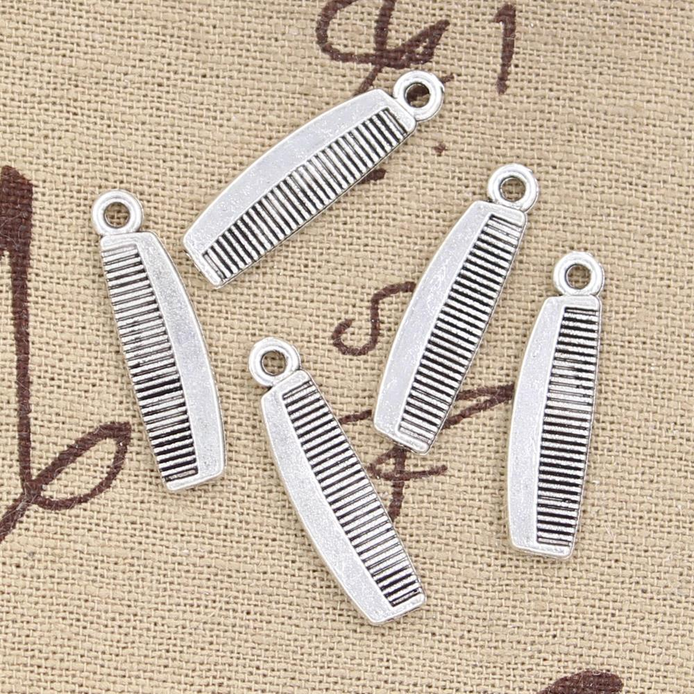 Pack of 10 Antique Silver Toothbrush  Pendant Charms 30mm x 3mm Crafts 3D