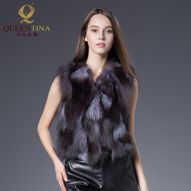 Hot Real Fur Coat Módní Dámská bunda Přírodní Stříbrná Fox Fox Vesta Kabáty Krátký styl Real Fox Fur Vesta Dívky Kouzlo Fox Fur Gilet