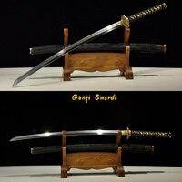 Высокое качество ручной работы полный тан японская катана ручной шлифовки Дамасская сложенная глина закаленное самурайский меч полная нас