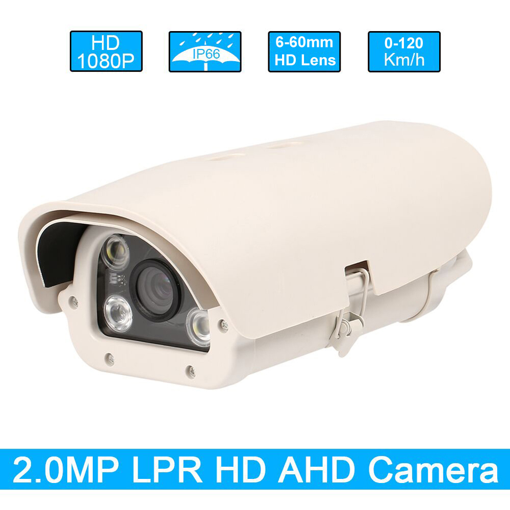 1080P 2MP 6-60mm Varifocal Lens AHD Vehicles License Number Plate Recognition Analog LPR Camera Outdoor For Highway With IR LED