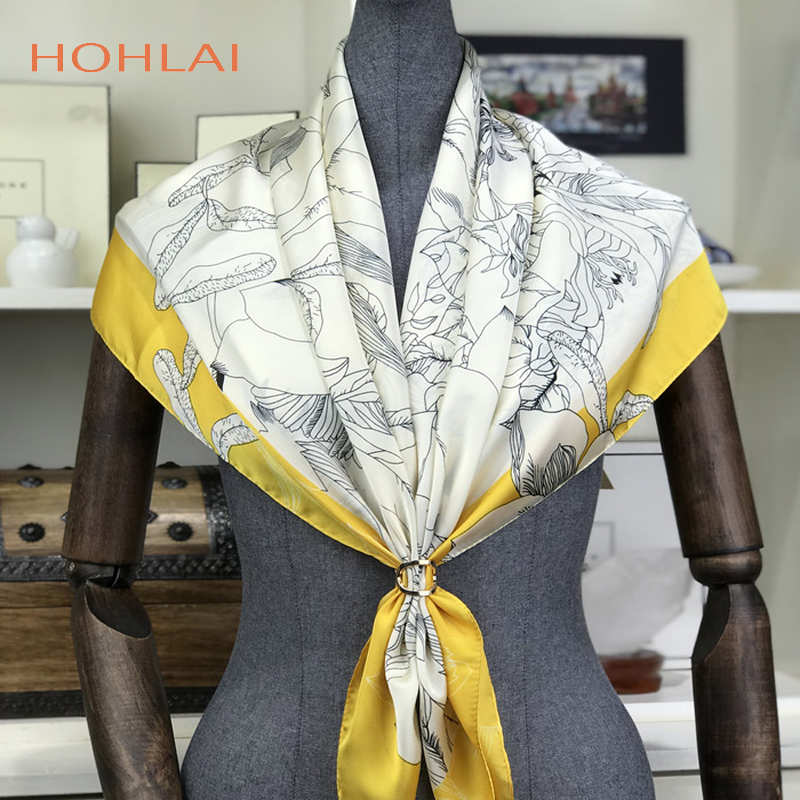 Luxury Brand Silk Women Fashion Shawl Large Blanket Scarves <font><b>Foulard</b></font> Femme Hot Large Satin Square Silk Feeling Hair Scarf <font><b>90</b></font>*90cm image