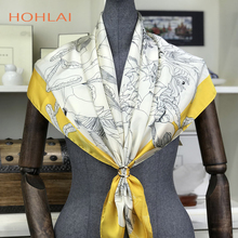 Luxury Brand Silk Women Fashion Shawl Large Blanket Scarves Foulard Femme Hot Large Satin Square Silk Feeling Hair Scarf 90*90cm
