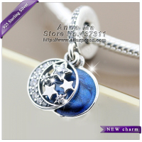 2016 Winter NEW Vintage Night Sky Shimmering Midnight Blue Enamel Clear CZ Dangle Charm S925 Silver Fit European Bracelets DA190