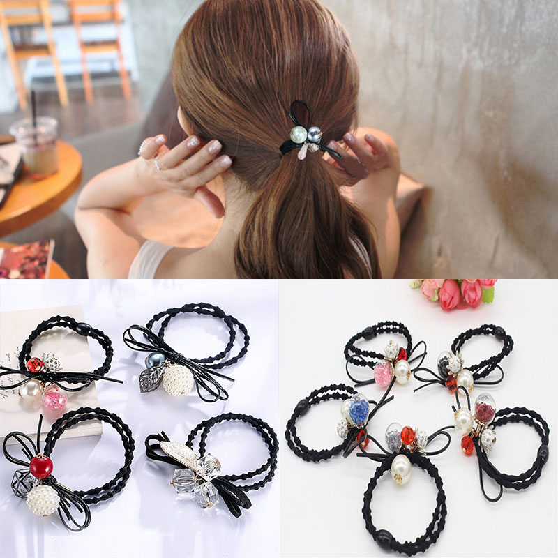 Girl's Hair Accessories Girl's Accessories Sincere Korean Cherry Red Bowknot Flower Elastic Rubber Hair Band Rope Plastic Hair Clips Hairpin For Women Girls Kids Hair Accessories