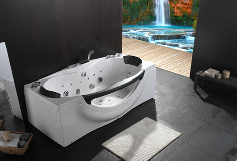 Rectangular Faber glass Acrylic whirlpool bathtub Hydromassage SurfingTub Nozzles Spary jets Right Skirt  spa RS6161D