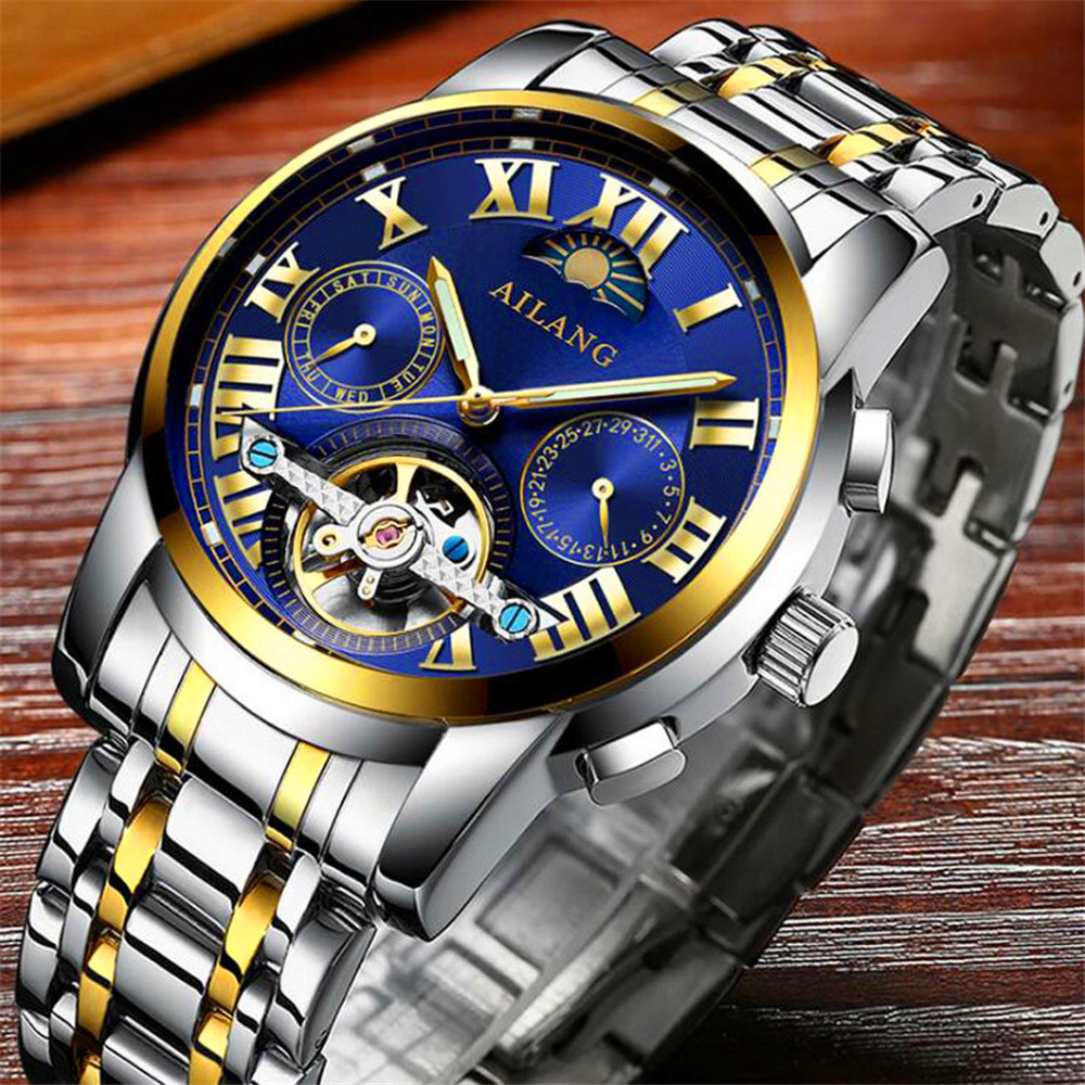 Mens Watches Top Brand Luxury AILANG 2017 Men Watch Tourbillon Automatic Mechanical Wristwatch Moon phase relogio masculino mens watches top brand luxury automatic mechanical tourbillon watch men luminous stainless steel wristwatch montre homme