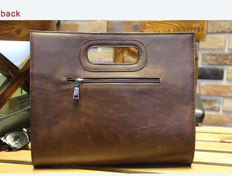Business Casual Men Leather Designer Handbag High Quality Male Wallet Famous Brand Men's Large Capacity Clutch Bag Brown black 75