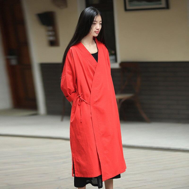 Conception bleu Vintage Kimono Femmes Style Chinois Blouses Blouse Plus Longue Noir Taille Origoods rouge Originale Tops C158 Et Chemise fTpvxq