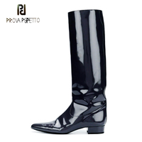 Prova Perfetto 2019 new superstar slip on patent leather knight boots women pointed toe low heel runway style knee high boots