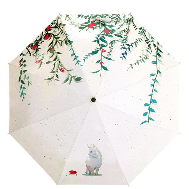 Fashion Ladies Painting Cat Umbrella Women S Personal Flower Rain