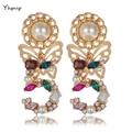 Yhpup Luxo Barroco Marca Colorido 5 Inlay Crystal Pearl Gem Declaração de Charme Borboleta Brincos Brincos de Presente da Festa de Casamento