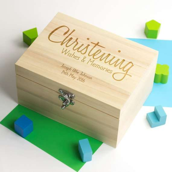 Us 14 92 17 Off Personalize Text Name Christening Baptism Baby Wood Memories Bespoken Box Keepsake Gift Boxes Birthday Storage Containers In Gift
