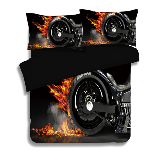 Hot Teen Boys Motorcycle Bedding Set 3pcs 4pcs Twin Queen King Size Duvet Cover Flat