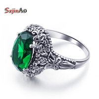 Szjinao Retro Sterling Silver Jewelry Green Emerald Ring Engagement Wedding Jewelry 2017 New Women Ring Wholesale