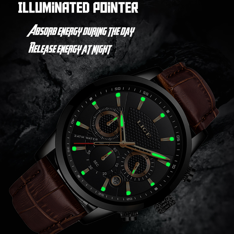 LIGE 2019 New Mens Watches Top Brand Luxury Male Military Sport Watch Men Leather Waterproof Quartz Wristwatch Relogio Masculino