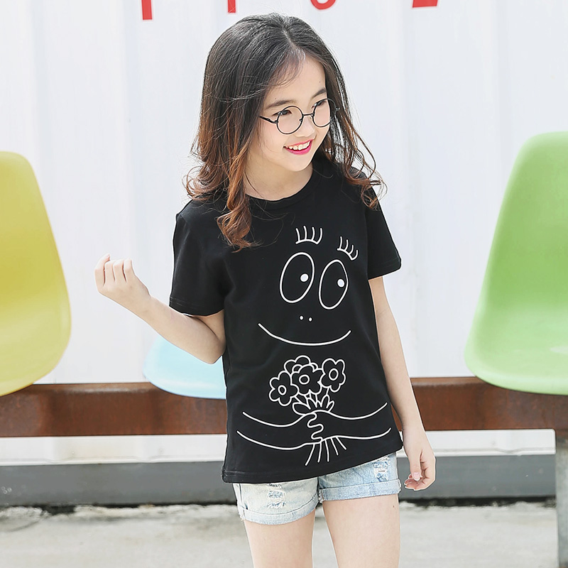 2017 Brand T-shirt Girl Cartoon Smilling Face Printed Tee Tops Children Cotton Black Pink White Clothe Tshirt For 14 15 16 Years