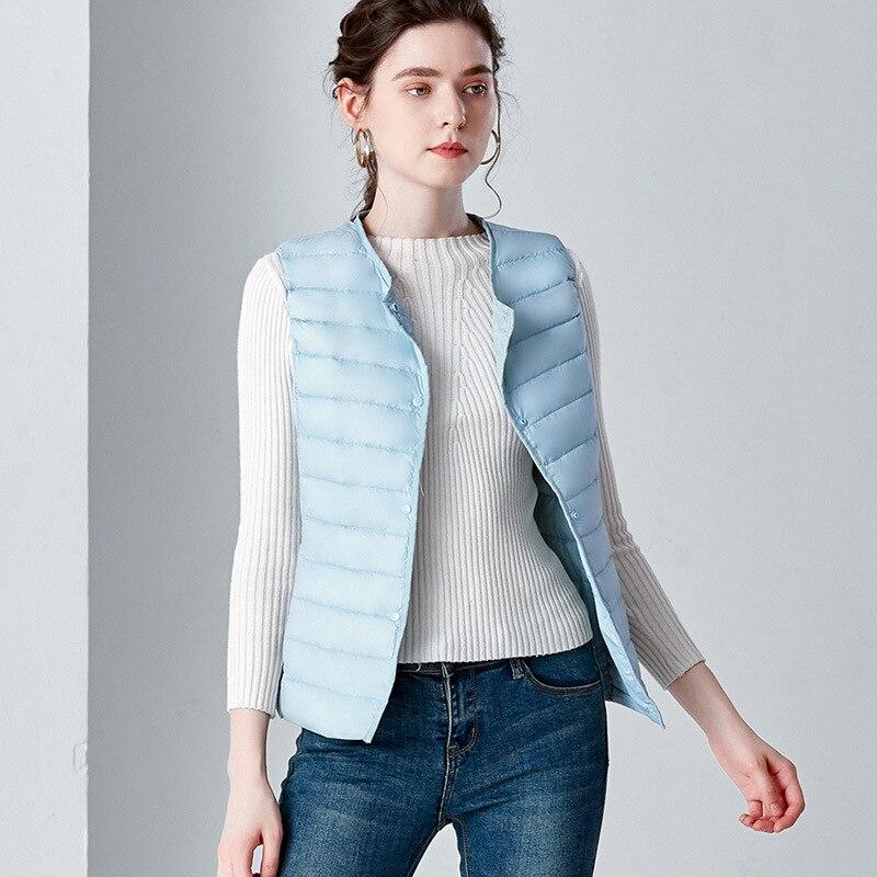 Autumn Lightweight White Duck   Down   Vest Women O-Neck Ultra Light Warm Waistcoat Female Sleeveless jacket   Coat   Plus Size 4XL New