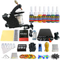 Solong Tattoo New Beginner 1 Pro Machine Gun Tattoo Kit Power Supply Needle Grips tip 7 color ink set TK105-80