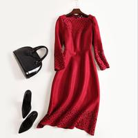 European and American women's wear 2017 The new winter fashion Faux suede Hollow out Three quarter sleeve dress