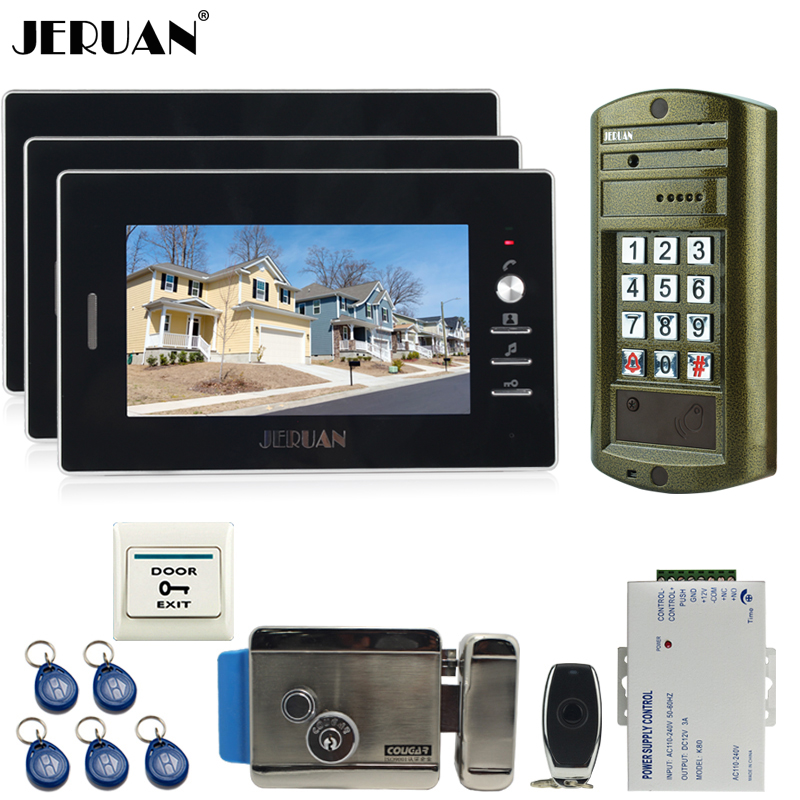JERUAN Wired 7 inch Video Doorbell Intercom Door Phone System kit NEW Metal Waterproof Access Password keypad HD Mini Camera 1V3 7 inch password id card video door phone home access control system wired video intercome door bell
