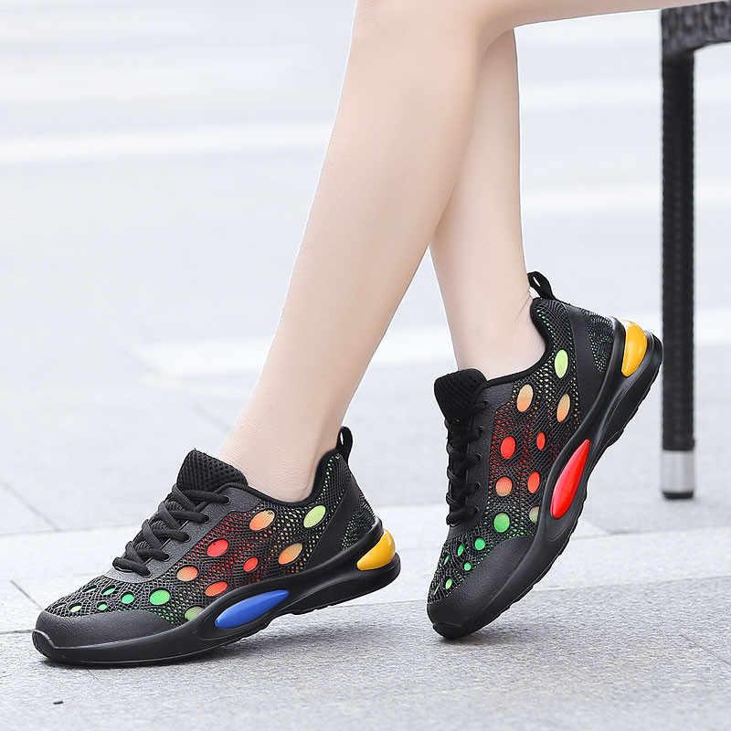PINSEN 2020 bahar kadın Sneakers nefes örgü kadın rahat ayakkabılar kadın moda Sneakers Lace-up bayanlar ayakkabı Tenis feminino